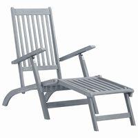 vidaXL Outdoor Deck Chair with Footrest Grey Wash Solid Acacia Wood