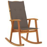 vidaXL Rocking Chair with Cushions Solid Acacia Wood