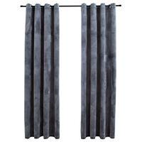 "vidaXL Blackout Curtains with Rings 2 pcs Anthracite 54""x63"" Velvet"