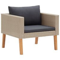 vidaXL Single Garden Sofa with Cushions Poly Rattan Beige