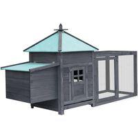 "vidaXL Chicken Coop with Nest Box Gray 76""x26.8""x41"" Solid Firwood"