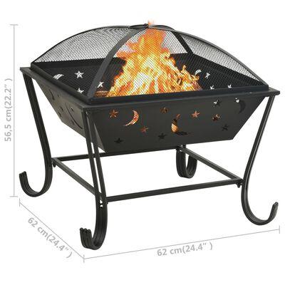 """vidaXL Fire Pit with Poker 24.4 XXL Steel"""""""