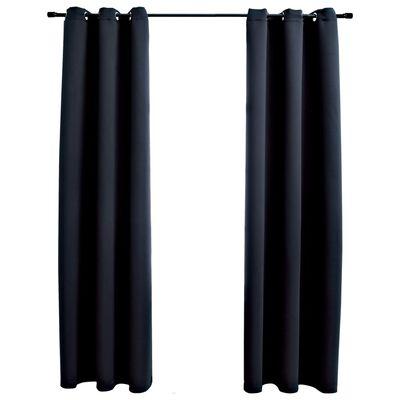 "vidaXL Blackout Curtains with Rings 2 pcs Black 37""x84"" Fabric"