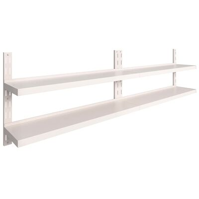 "vidaXL 2-Tier Floating Wall Shelves 2 pcs Stainless Steel 118.1""x11.8"""