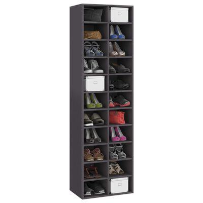 "vidaXL Shoe Cabinet High Gloss Gray 21.3""x13.4""x72"" Chipboard"