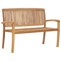 "vidaXL 2-Seater Stacking Garden Bench 50.6"" Solid Teak Wood"