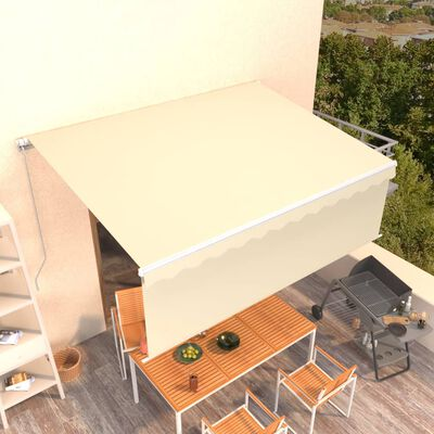 """vidaXL Manual Retractable Awning with Blind 157.5""""x118.1"""" Cream"""