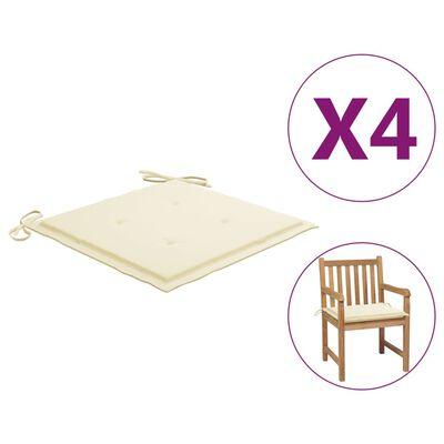 "vidaXL Garden Chair Cushions 4 pcs Cream 19.7""x19.7""x1.6"" Fabric"