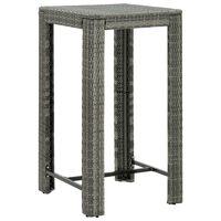 "vidaXL Garden Bar Table Gray 23.8""x23.8""x43.5"" Poly Rattan"