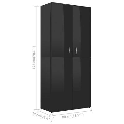 "vidaXL Shoe Cabinet High Gloss Black 31.5""x15.4""x70.1"" Chipboard"