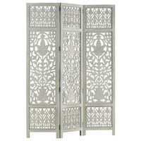 "vidaXL Hand Carved 3-Panel Room Divider Gray 47.2""x65"" Solid Mango Wood"