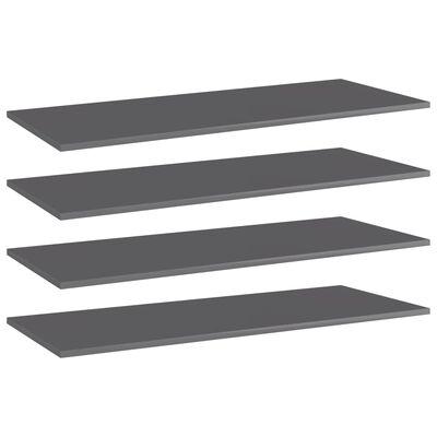 "vidaXL Bookshelf Boards 4 pcs High Gloss Gray 39.4""x15.7""x0.6"" Chipboard"