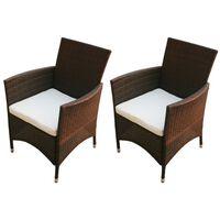 vidaXL Garden Chairs 2 pcs Poly Rattan Brown