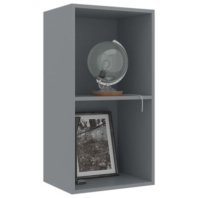"vidaXL 2-Tier Book Cabinet Gray 15.7""x11.8""x30.1"" Chipboard"