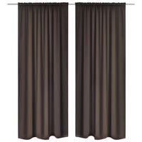 "2 pcs Brown Slot-Headed Blackout Curtains 53"" x 96"""