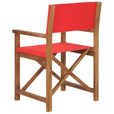 vidaXL Director's Chair Solid Teak Wood Red