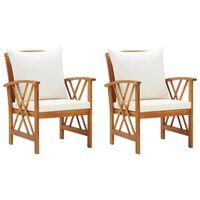 vidaXL Garden Chairs with Cushions 2 pcs Solid Acacia Wood