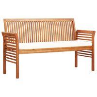 "vidaXL 3-Seater Garden Bench with Cushion 59"" Solid Acacia Wood"