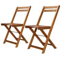 vidaXL Outdoor Bistro Chairs 2 pcs Solid Acacia Wood