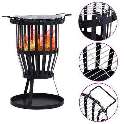 "vidaXL Garden Fire Pit Basket with BBQ Grill Steel 19"""