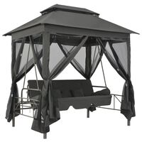 """vidaXL Outdoor Convertible Swing Bench with Canopy Anthracite 86.6""""x63""""x94.5"""" Steel"""