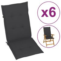"vidaXL Garden Chair Cushions 6 pcs Anthracite 47.2""x19.7""x1.6"""