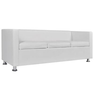 vidaXL Sofa Set Armchair and 3-Seater White Faux Leather
