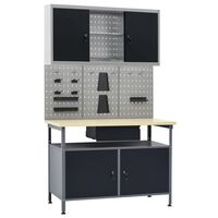 vidaXL Workbench with Three Wall Panels and One Cabinet
