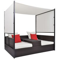 """vidaXL Garden Bed with Canopy Brown 74.8""""x51.2"""" Poly Rattan"""