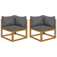 vidaXL Sectional Corner Sofas 2 pcs with Cushions Dark Gray