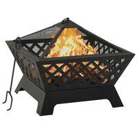 """vidaXL Fire Pit with Poker 25.2 XXL Steel"""""""
