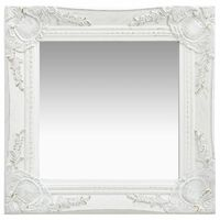 "vidaXL Wall Mirror Baroque Style15.7""x15.7"" White"