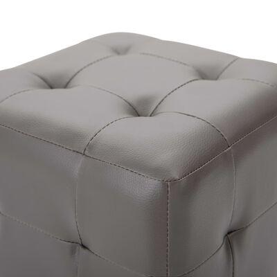 """vidaXL Pouffe 2 pcs Gray 11.8""""x11.8""""x11.8"""" Faux Leather"""