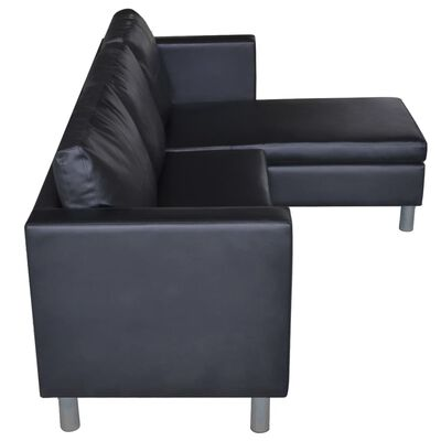 vidaXL Sectional Sofa 3-Seater Artificial Leather Black