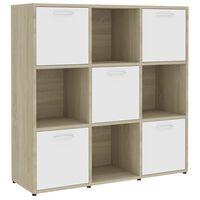 "vidaXL Book Cabinet White and Sonoma Oak 35.4""x11.8""x35.4"" Chipboard"