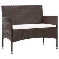 vidaXL Garden Bench with Cushion Poly Rattan Brown