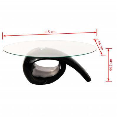 vidaXL Coffee Table with Oval Glass Top High Gloss Black