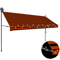 """vidaXL Manual Retractable Awning with LED 137.8"""" Orange and Brown"""