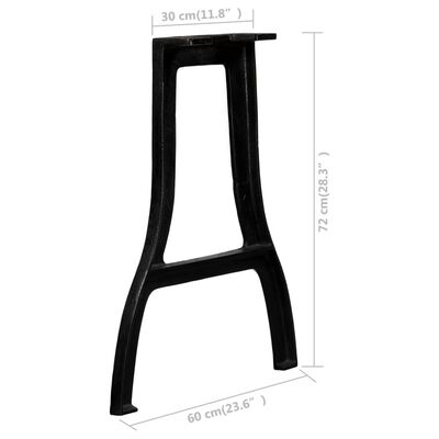 vidaXL Dining Table Legs 2 pcs A-Frame Cast Iron