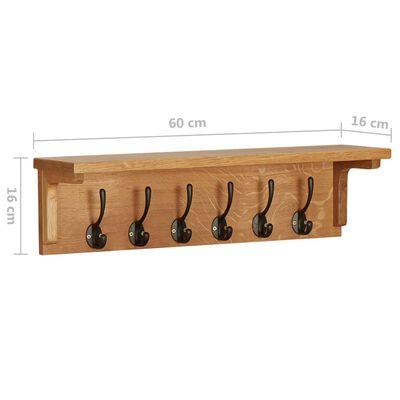 """vidaXL Coat Rack 23.6""""x6.3""""x6.3"""" Solid Oak Wood"""