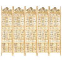 "vidaXL Hand carved 5-Panel Room Divider 78.7""x65"" Solid Mango Wood"