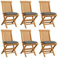 vidaXL Garden Chairs with Gray Cushions 6 pcs Solid Teak Wood