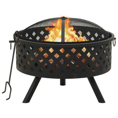 """vidaXL Fire Pit with Poker 26.8 XXL Steel"""""""