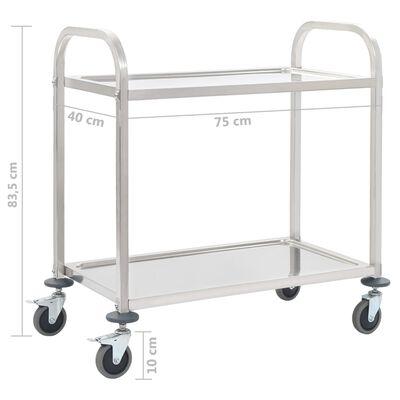 "vidaXL 2-Tier Kitchen Trolley 34.3""x17.7""x32.9"" Stainless Steel"