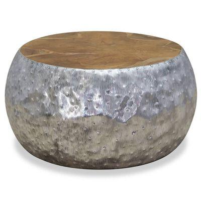 "vidaXL Coffee Table Aluminium Teak 23.6""x23.6""x11.8"""