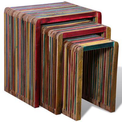vidaXL Nesting Table Set 3 Pieces Colorful Reclaimed Teak