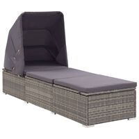 vidaXL Sun Lounger with Canopy and Cushion Poly Rattan Gray