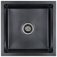 vidaXL Handmade Kitchen Sink with Strainer Black Stainless Steel