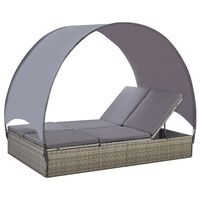 vidaXL Double Sun Lounger with Canopy Poly Rattan Gray