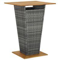 "vidaXL Bar Table Gray 31.5""x31.5""x43.3"" Poly Rattan and Solid Acacia Wood"